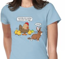 Bunny makes chocolate poop funny cartoon Womens Fitted T-Shirt