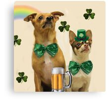 St. Patrick's Day Chihuahuas Canvas Print