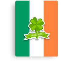 Clover on Irish flag for Patrick day Canvas Print