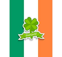 Clover on Irish flag for Patrick day Photographic Print