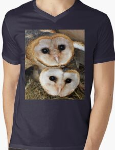 Cute baby barn owls  Mens V-Neck T-Shirt