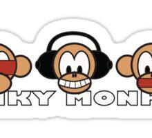 cartoon style three funky monkey Sticker