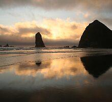 Mirror Image of Haystack Rock by Randy Richards