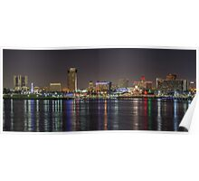 Long Beach Skyline at Night Poster