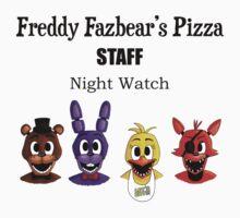 Freddy Fazbear's Pizza Staff - Night Watch by HikaruWeasley