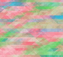 Washed Out Geometric: Rose, Spring Green, Turquoise by katmun