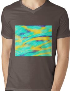Washed Out Geometric: Aqua, Yellow and Blue Mens V-Neck T-Shirt