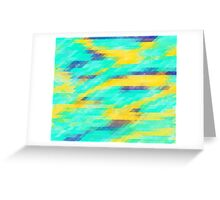 Washed Out Geometric: Aqua, Yellow and Blue Greeting Card