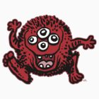 Cute Cartoon Red Monster by cheerfulmadness