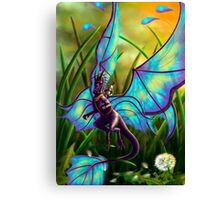We Ride at Dawn - Mouse Warrior Riding Fairy Dragon Canvas Print