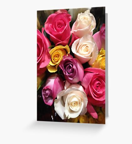 Multi Colored Roses Greeting Card