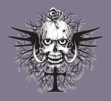 Skull With Rose Cross Illustration Kids Clothes