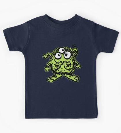 Cute Cartoon Green Monster by Cheerful Madness!! Kids Tee