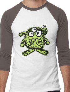 Cute Cartoon Green Monster by Cheerful Madness!! Men's Baseball ¾ T-Shirt