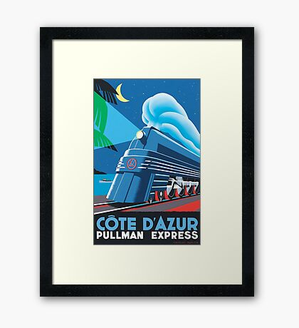 French Riviera Classic Vintage Train Travel Poster Framed Print