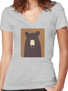 CHOCOLATE BEAR PORTRAIT Women's Fitted V-Neck T-Shirt