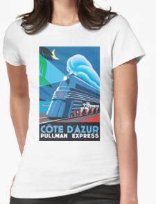 French Riviera Classic Vintage Train Travel Poster Womens Fitted T-Shirt