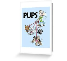 Dog Walker with Cute Puppies Greeting Card