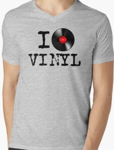 I Heart Vinyl Mens V-Neck T-Shirt