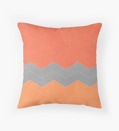 Salmon, Grey and Peach Chevron Throw Pillow