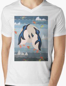 Penguin Pair Mens V-Neck T-Shirt