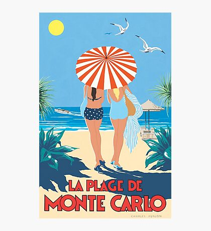 Classic Monte Carlo Vintage Travel Poster Photographic Print