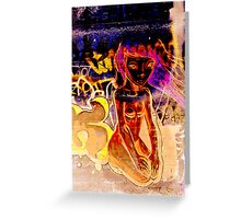 Girl on a Wall Greeting Card