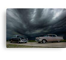 '54 Chevy Deluxe & '56 Bel Air Custom Canvas Print