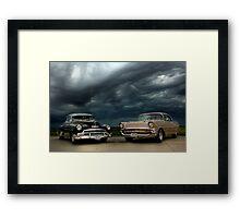 '54 Chevy Deluxe & '57 Bel Air Custom Framed Print