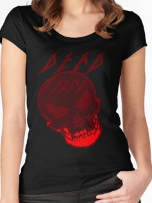 Dead Trend Evil Skull In Metallica Font- Red Women's Fitted Scoop T-Shirt