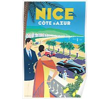French Riviera Classic Vintage Travel Poster Poster