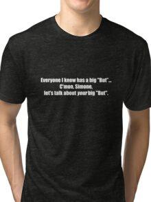 Pee-Wee Herman - C'mon Simone, Let's Talk - White Font Tri-blend T-Shirt