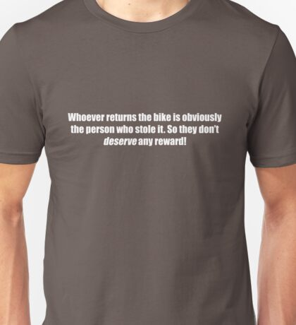 Pee-Wee Herman - Obviously The Person Who Stole it - White Font Unisex T-Shirt