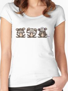 See No Evil Hear No Evil Speak No Evil Pink iPod Tee Women's Fitted Scoop T-Shirt