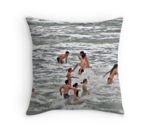 This is a tradition every Boxing day Morning in the little Village of Portreath. Throw Pillow