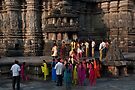 Bright saris at Belur by Syd Winer