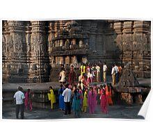 Bright saris at Belur Poster