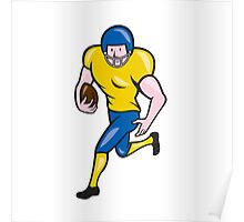 American Football Running Back Cartoon Poster