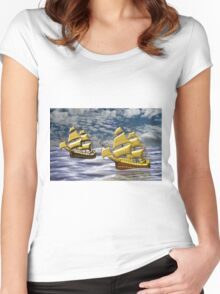 Two Ships of the Line Heading for Battle Women's Fitted Scoop T-Shirt