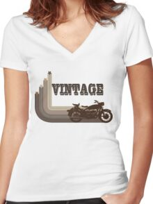 Vintage Motorcycle Tee Women's Fitted V-Neck T-Shirt