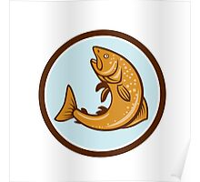 Brown Trout Jumping Circle Cartoon Poster