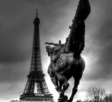 Sculpture And The Eiffel Tower  by Ian Mooney