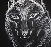 Wolf Sketching on Black Sketch Pad with White Pastels by StilleSkygger