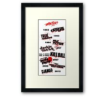 Quentin Tarantino - Art Filmography Framed Print