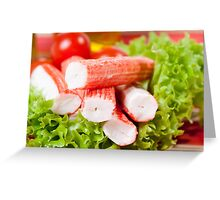 Pile of crab sticks surimi Greeting Card