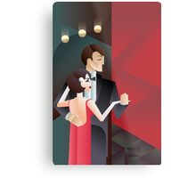 Dancing couple Art Deco geometric style poster Metal Print