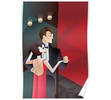 Dancing couple Art Deco geometric style poster Poster