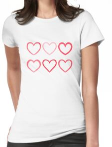 Watercolor hearts Womens Fitted T-Shirt