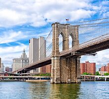 Historic Brooklyn Bridge And The New York City Skyline by Mark Tisdale