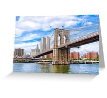 Historic Brooklyn Bridge And The New York City Skyline Greeting Card